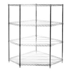Four Shelf Pentagon Wire Shelving Unit Corner Kit