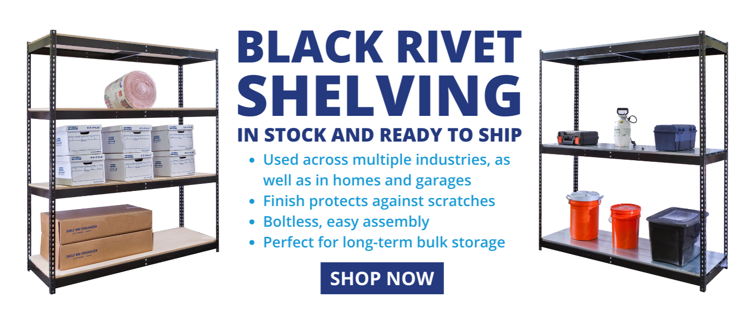 Black Rivet Shelving In Stock