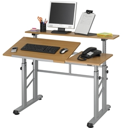 Adjustable Split Level Drafting Table W Wood Top Safco