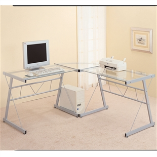 Glass U0026 Black Metal L Shaped Computer Desk