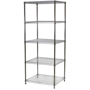 24 d x 30 w chrome wire shelving unit with 5 shelves. Black Bedroom Furniture Sets. Home Design Ideas