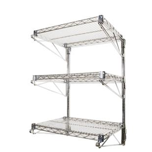 14 d 3 shelf chrome wire wall mounted shelving kit. Black Bedroom Furniture Sets. Home Design Ideas