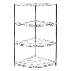 Corner Wire Shelving | Wire Shelving Corner Unit W 4 Shelves 18 Radius